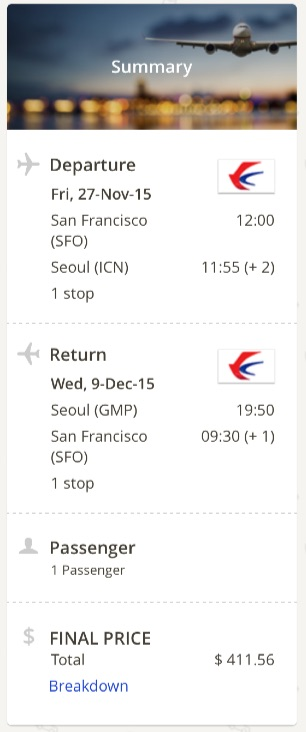 San Francisco to Seoul