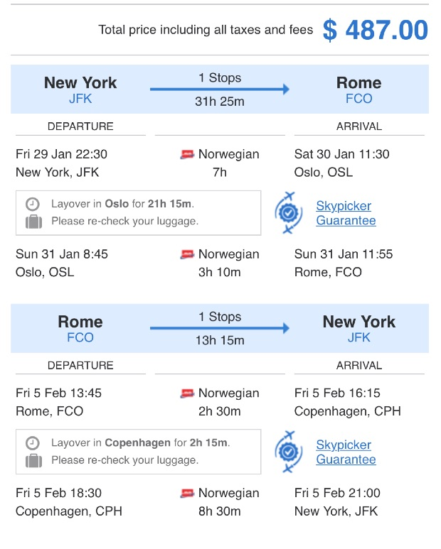 New York to Rome