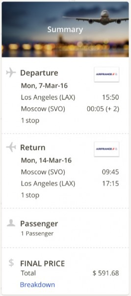 Los Angeles to Moscow