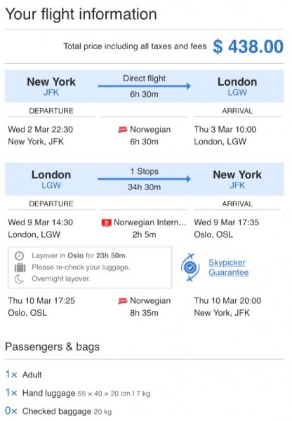 New York to London