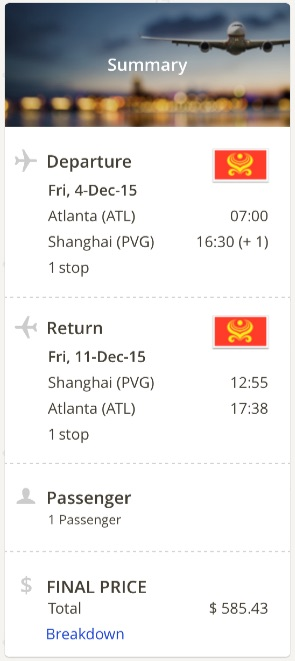 Atlanta to Shanghai