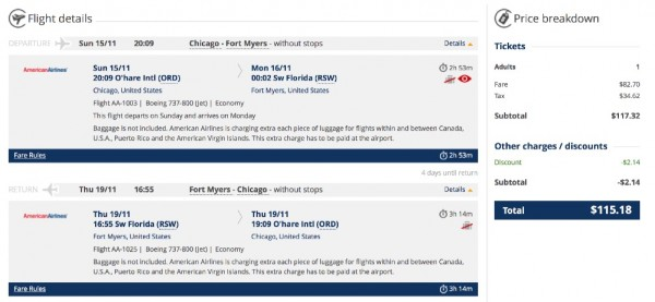 Chicago to Fort Myers