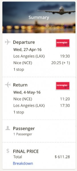 Los Angeles to Nice, France