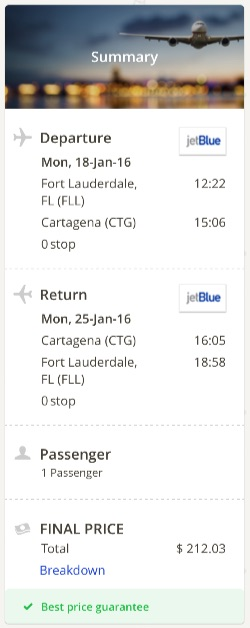 Miami to Cartagena