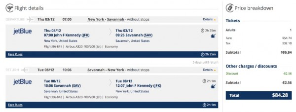 New York to Savannah