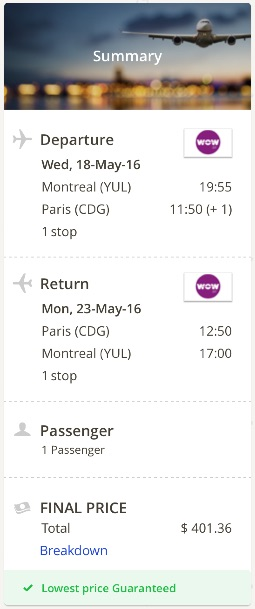 Montreal to Paris