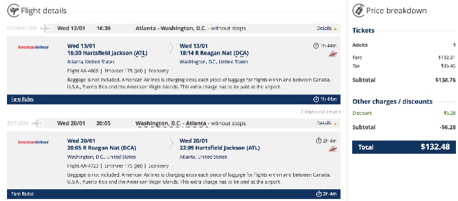 Atlanta to Washington