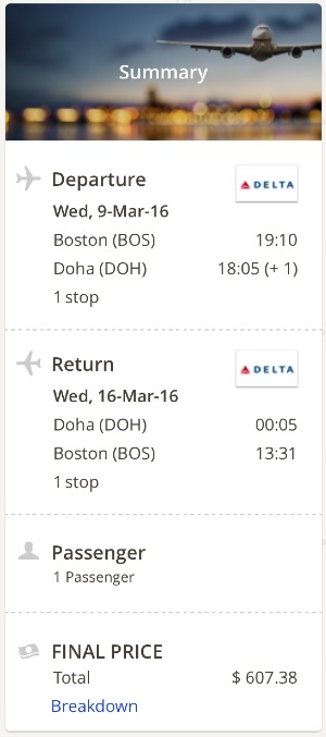 Boston to Doha