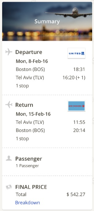 Boston to Tel A Viv