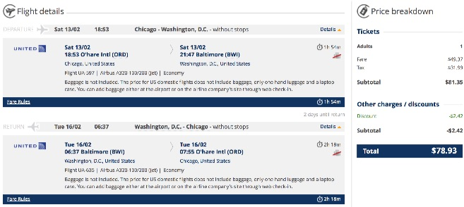 Chicago to Washington