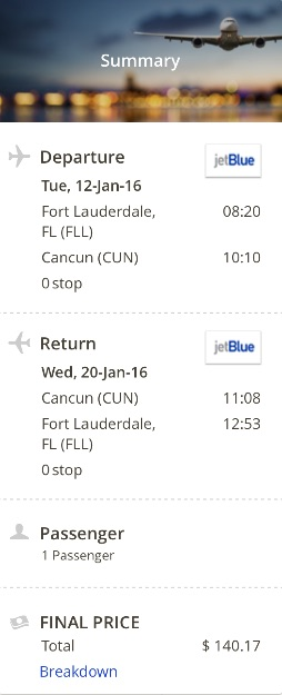 Miami to Cancun