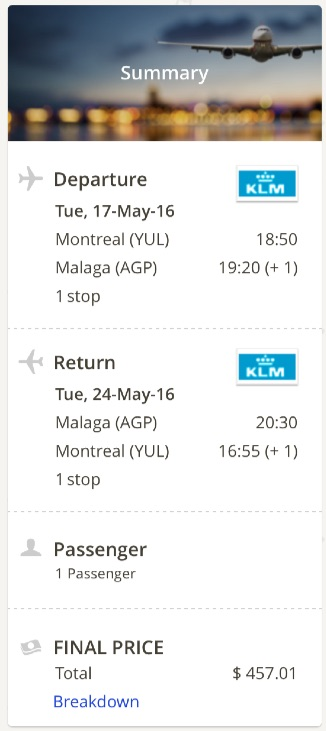 Montreal to Malaga, Spain