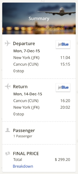 New York to Cancun