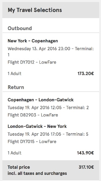 New York to Copenhagen