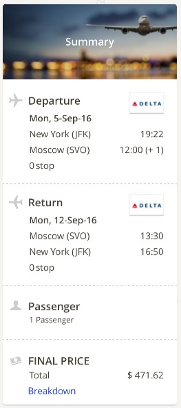 New York to Moscow