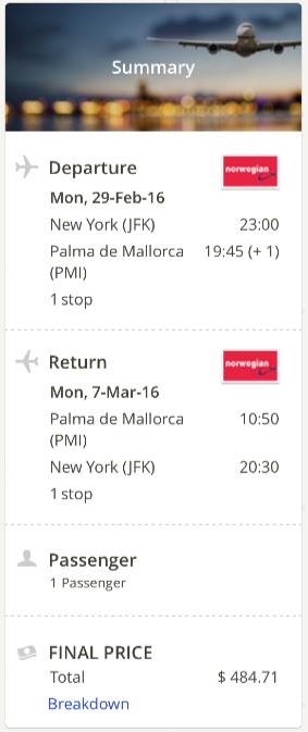 New York to Palma de Mallorca