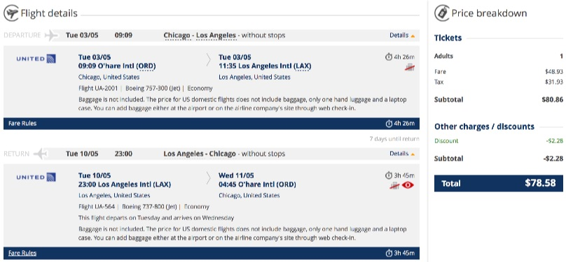 Chicago to Los Angeles