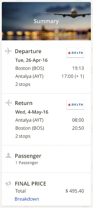 Boston to Antalya