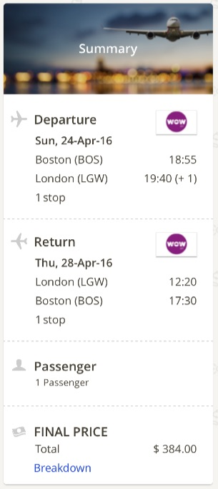 Boston to London
