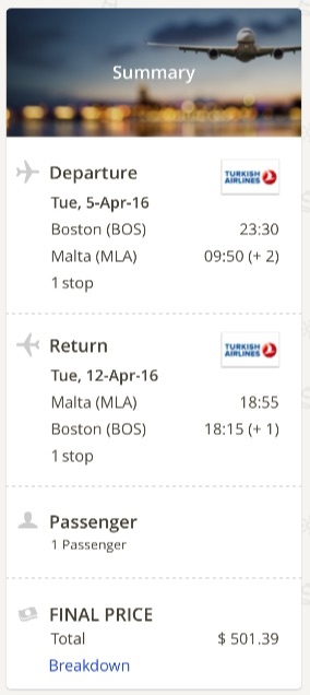 Boston to Malta