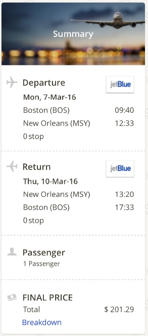 Boston to New Orleans