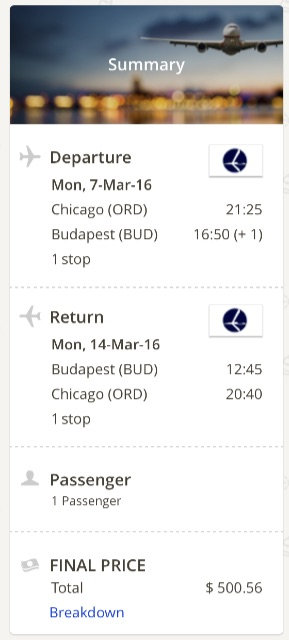 Chicago to Budapest