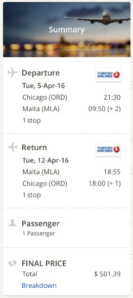 Chicago to Malta