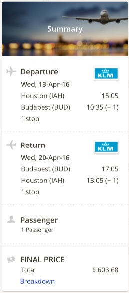 Houston to Budapest, Hungary