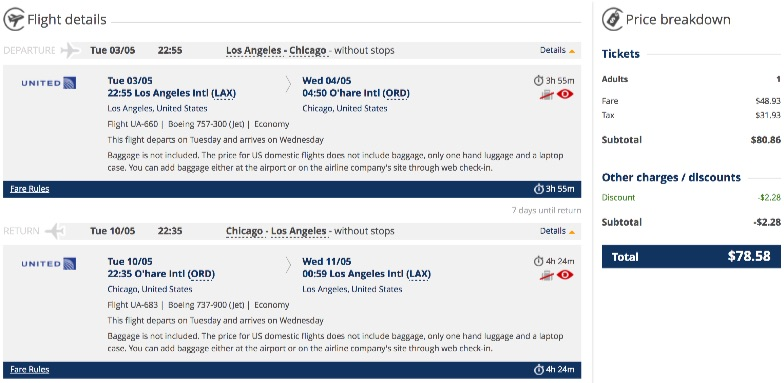 Los Angels to Chicago