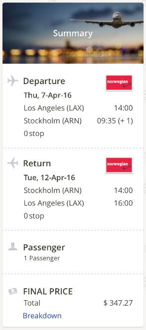 Los Angeles to Stockholm