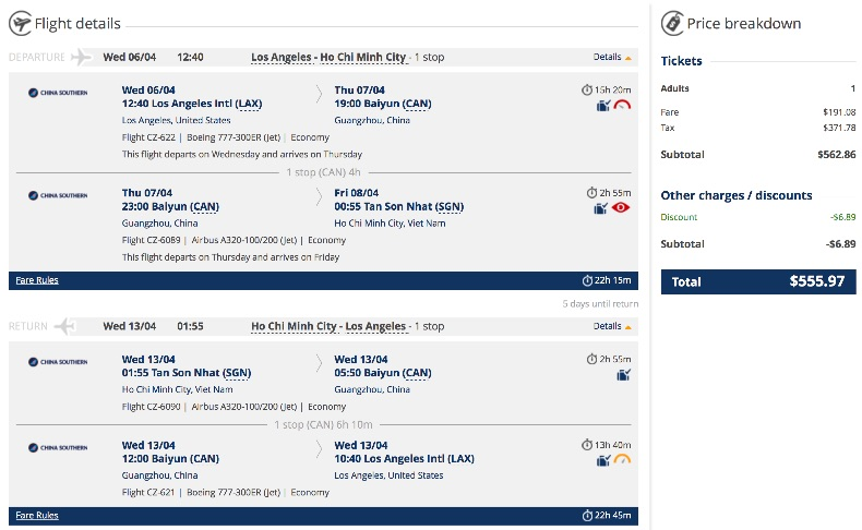 Los Angeles to Vietnam