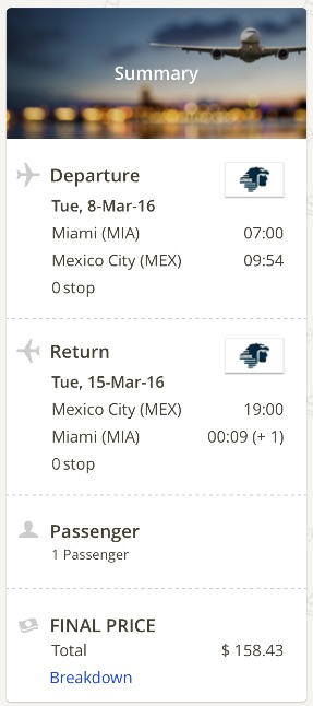 Miami to Mexico City