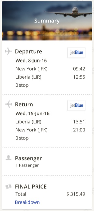 New York to Liberia, Cost Rica
