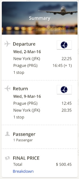 New York to Prague