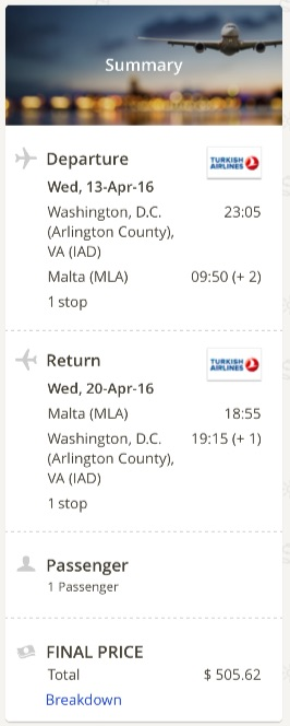 Washington to Malta