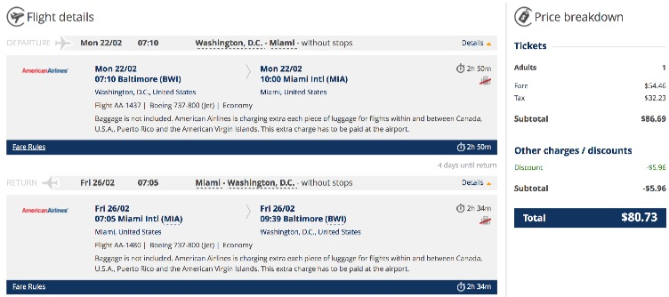 Washington to Miami