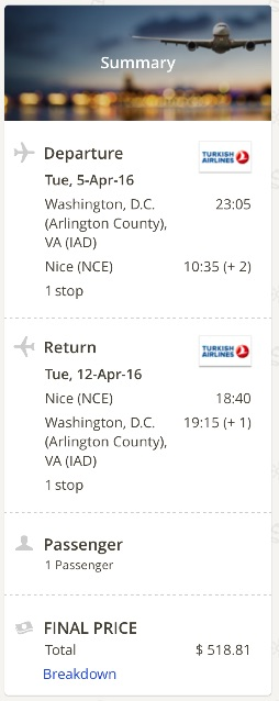 Washington to Nice