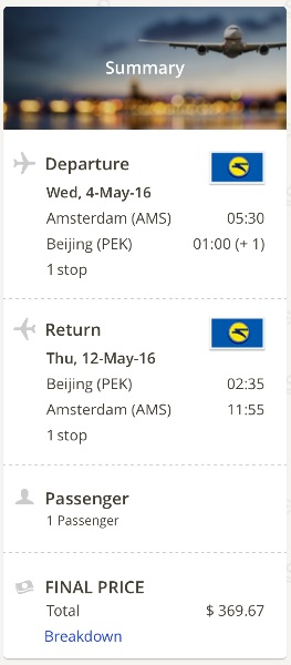 Amsterdam to Beijing, China