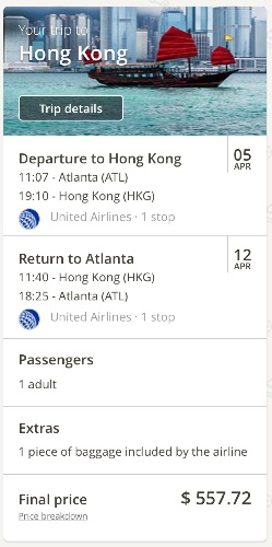 Atlanta to Hong Kong