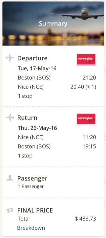 cheap flights from Boston to  Nice, France