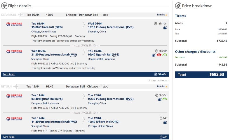 Chicago To Bali For 682 R T Spring Airfare Spot