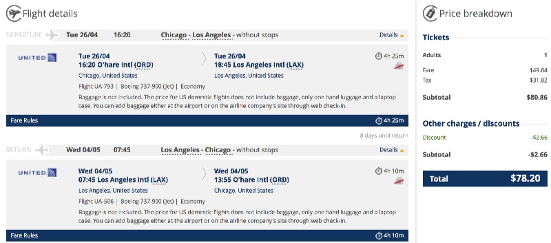 cheap flights from Chicago to Los Angeles