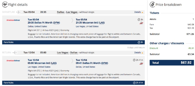 cheap flights from Dallas to Las Vegas