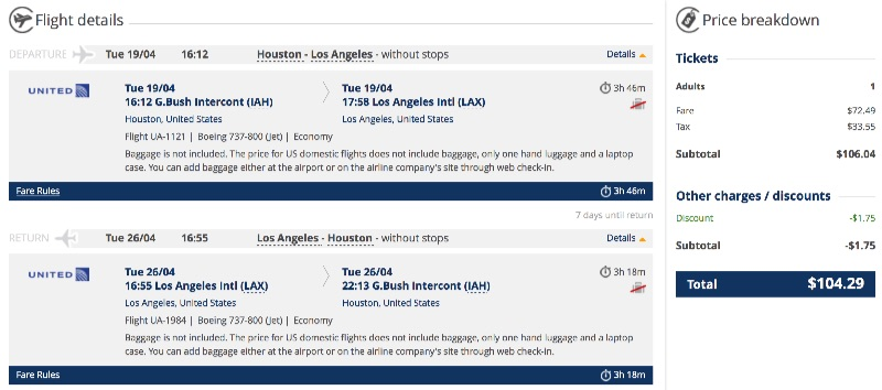 cheap flights from Houston to Los Angeles