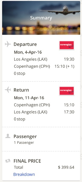 Lso Angeles to Copenhagen
