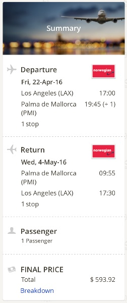 cheap flight from Los Angeles to Palma de Mallorca