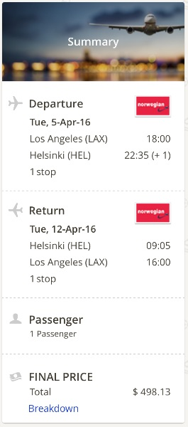 Los Angeles to Helsinki