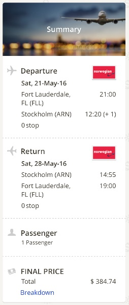 cheap flight from Miami to Stockholm