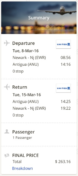 New York to Antigua