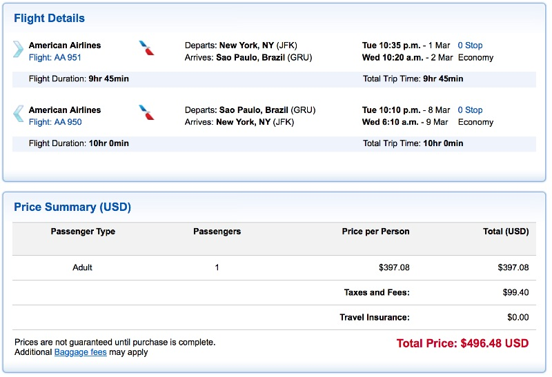 cheap flights from New York to Sao Paulo